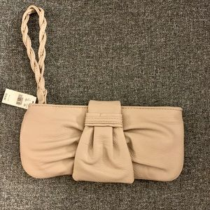 NWT Express tan faux leather wristlet